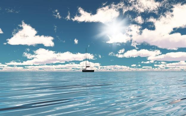 Yacht 3d sur l'océan