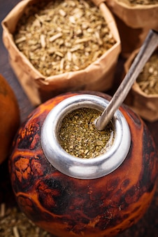 Yerba mate tea with calabash et bombilla.