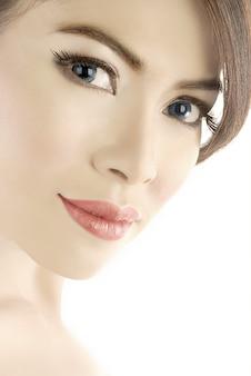 Yeux bleus femme close up