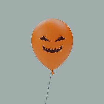 Yeux triangle sourire espiègle haunted halloween effrayant visage ballon émoticône isolé 3d rende