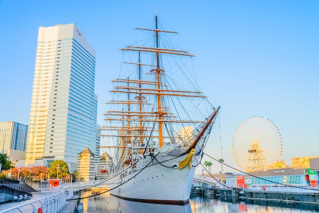 Yokohama, japon - 24 novembre: nippon maru bateau à yokohama, ja