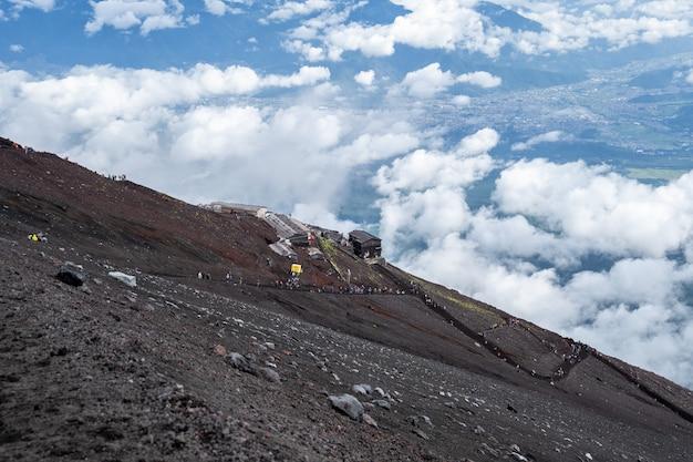 Yoshida trail sur le mont fuji en saison d'escalade avec ciel nuageux