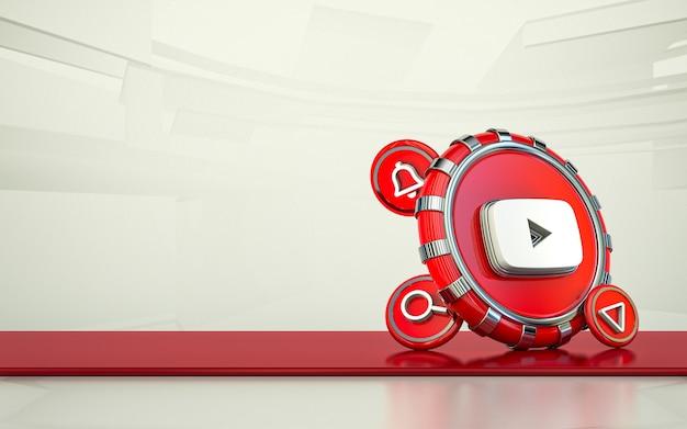 Youtube rendu 3d icône des médias sociaux fond isolé