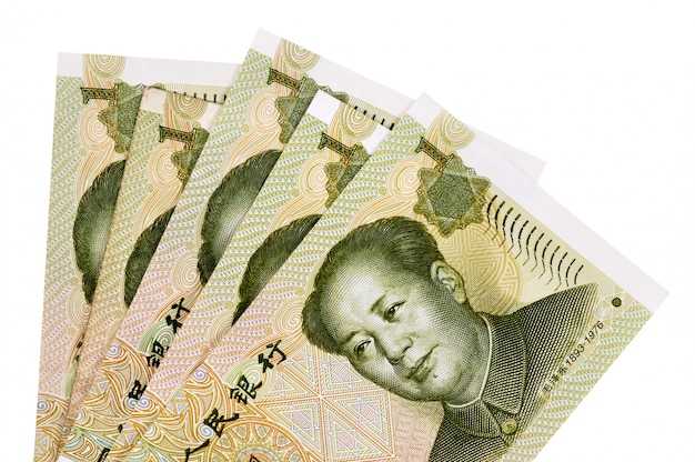 Yuan chinois billets de banque entièrement isolés contre blanc