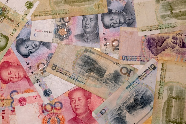 Yuan notes agrandi. la monnaie chinoise est le fond