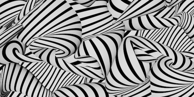 Zebra vagues abstraites ondulation image d'arrière-plan illustration 3d