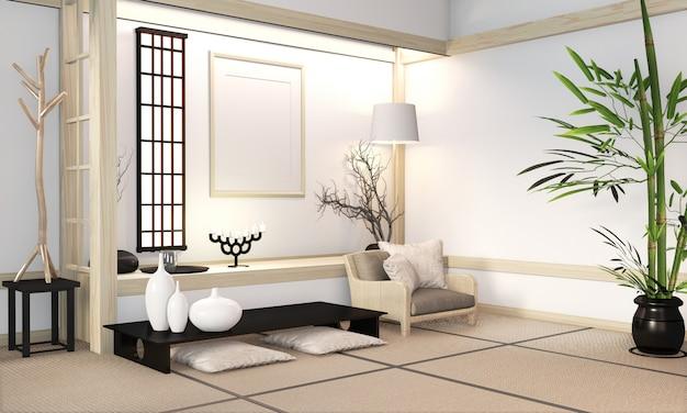 Le zen moderne associe un intérieur en bois de style zen orininal avec un tapis en tatami et un style japonais minimaliste avec un mur en bois. rendu 3d
