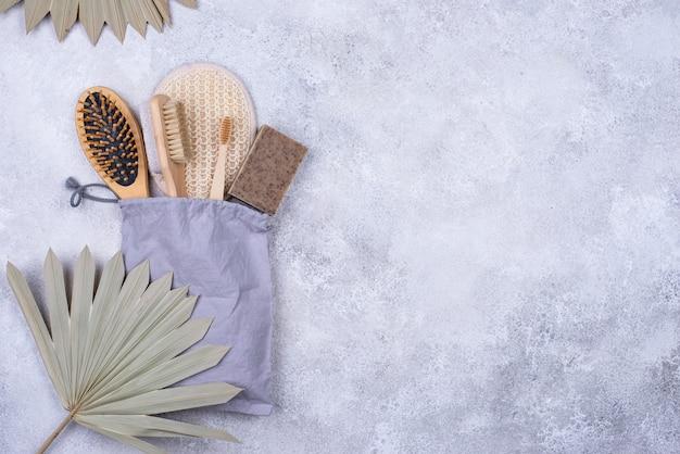 Zéro déchet accessoires peigne pierre ponce brosse à dents et gant de toilette