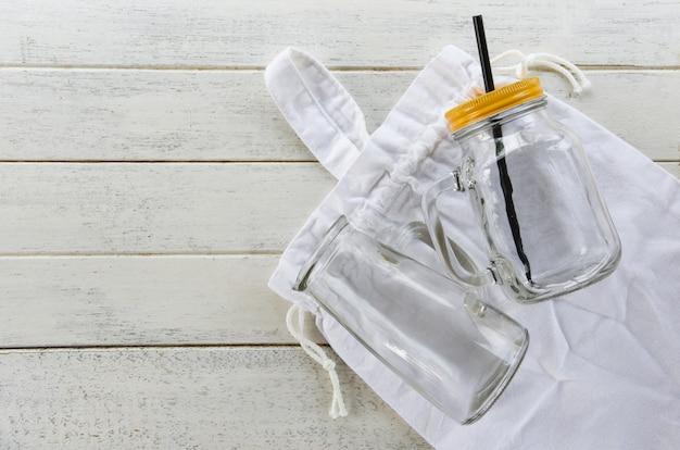 Zéro déchet, moins de plastique sac de coton gar de verre
