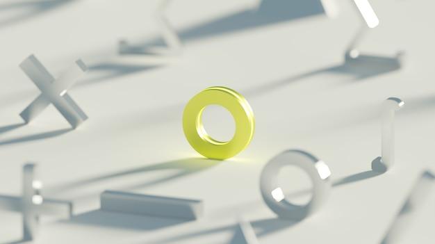 Zéro jaune brillant ou cercle symbole mathématique objet rendu 3d fond clair