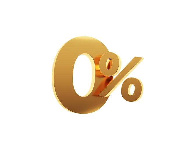Zéro pour cent d'or sur fond blanc. rendu 3d.