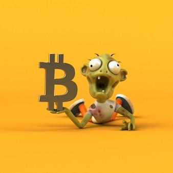 Zombie et bitcoin - illustration 3d