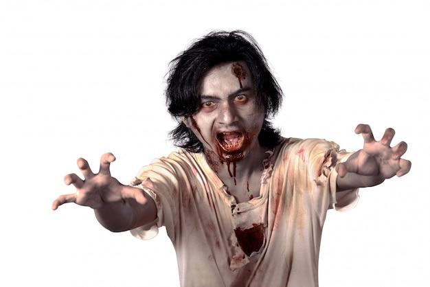 Zombie mâle effrayant asiatique
