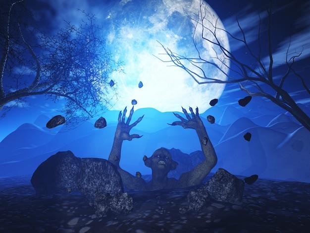 Zombie maléfique 3d surgit du sol contre un paysage d'halloween