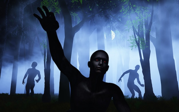 Zombies 3d dans la forêt brumeuse