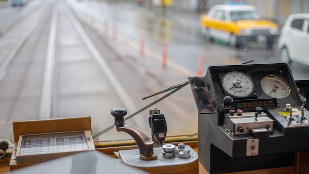 Zone de conducteur vintage de tramway de tokyo au japon hokaido.