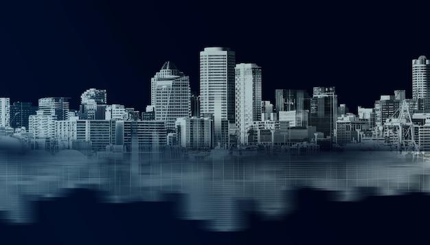 Zone métropolitaine d'horizon de bâtiment de ville abstraite.