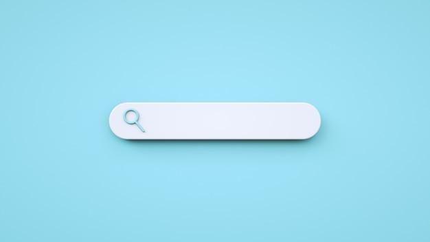 Zone de recherche vide de style minimaliste sur fond bleu rendu 3d de style de dessin animé de recherche web