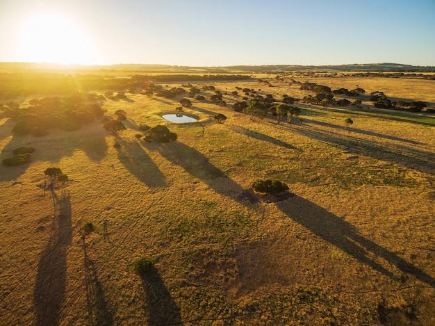Zone rurale de l'île kangourou au coucher du soleil vue aérienne.