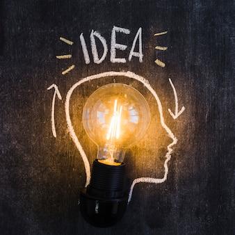 Ampoule lumineuse avec contour dessiné sur tableau noir