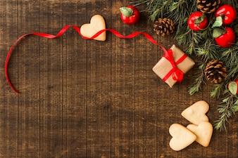 Biscuits de coeur avec petite boîte cadeau