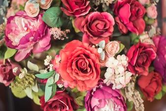 Bouquet Vintage de fleurs roses