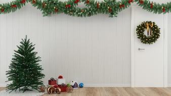 Cadeau de noël mur bois étage arbre modèle fond décoration modèle intérieur