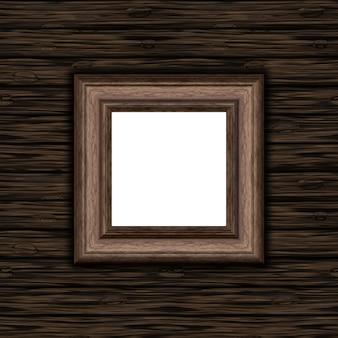 Cadre photo en bois blanc 3D sur un fond de texture en bois