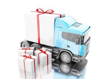 Camion 3D livrant une boîte cadeau avec ruban