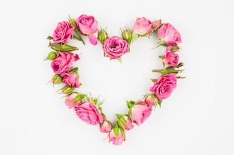 Coeur fait avec des roses roses sur fond blanc