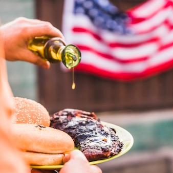 Concept de fête de l'indépendance avec grill