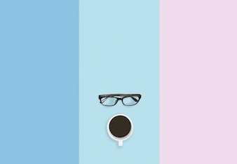 Concept de pause café, lunettes de vue et café sur le fond de la table pastel avec espace de copie.