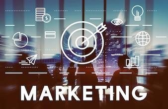 Concept de stratégie commerciale de publicité marketing