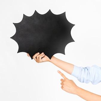 Couper les mains pointant sur une bulle de dialogue
