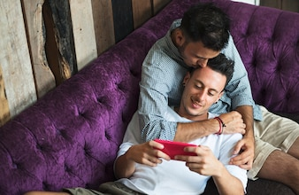 Couple Gay Love Home Concept