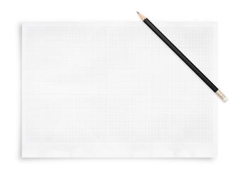 Crayon et feuille de papier avec motif de grille ..
