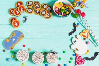 De délicieux biscuits, du pain d'épices, des sucettes et des bonbons