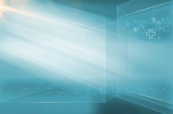 Espace de nouvelles médicales 3d abstraites de haute technologie avec codes binaires