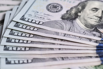 Fond d'argent bouchent la vue des billets de banque en argent