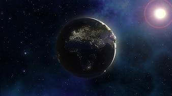 Fond de l'espace 3D avec la terre dans le ciel de la nébuleuse