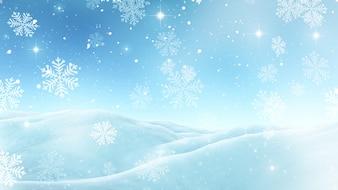 Fond de Noël 3D avec des flocons de neige