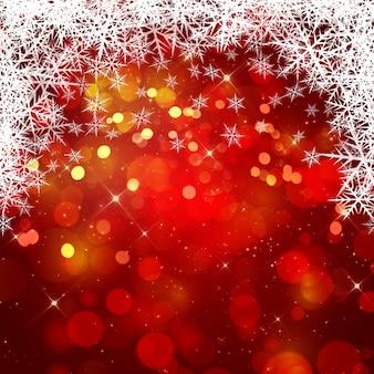 Fond de Noël avec des lumières bokeh et flocons de neige