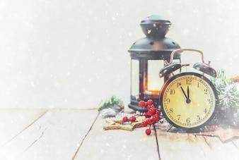 Fond de Noël bonne année. Mise au point sélective