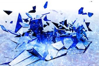 Fond fractal 3D fissuré avec design low poly