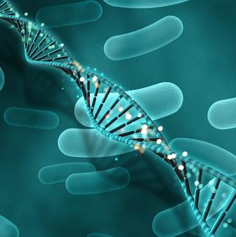 Fond médical 3D avec des cellules sanguines et un brin d'ADN