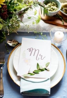 Gros plan de table de réception de mariage