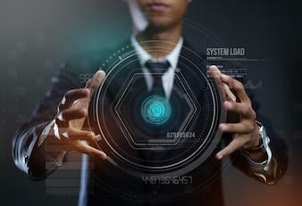 Hologramme de cercle de création homme d'affaires