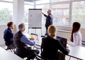 Homme d'affaires senior donnant une présentation à des collègues de bureau