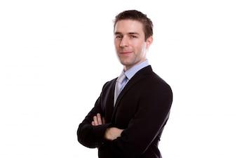 Homme gestionnaire carrière complète à la mode