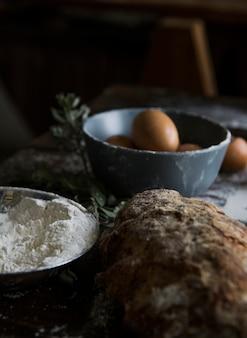 Idée de recette de photographie de nourriture de pain fait maison